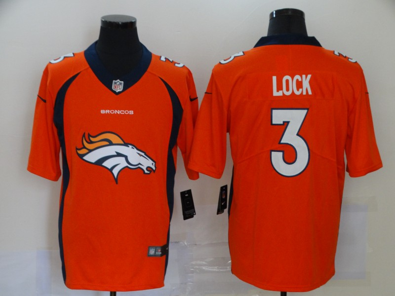 Men Denver Broncos 3 lock orange Nike Vapor Untouchable Limited Player NFL fashion Jerseys