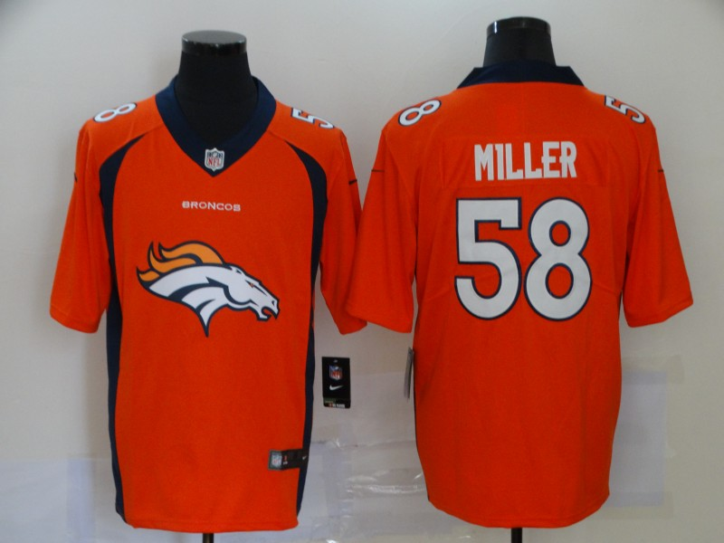 Men Denver Broncos 58 Miller orange Nike Vapor Untouchable Limited Player NFL fashion Jerseys