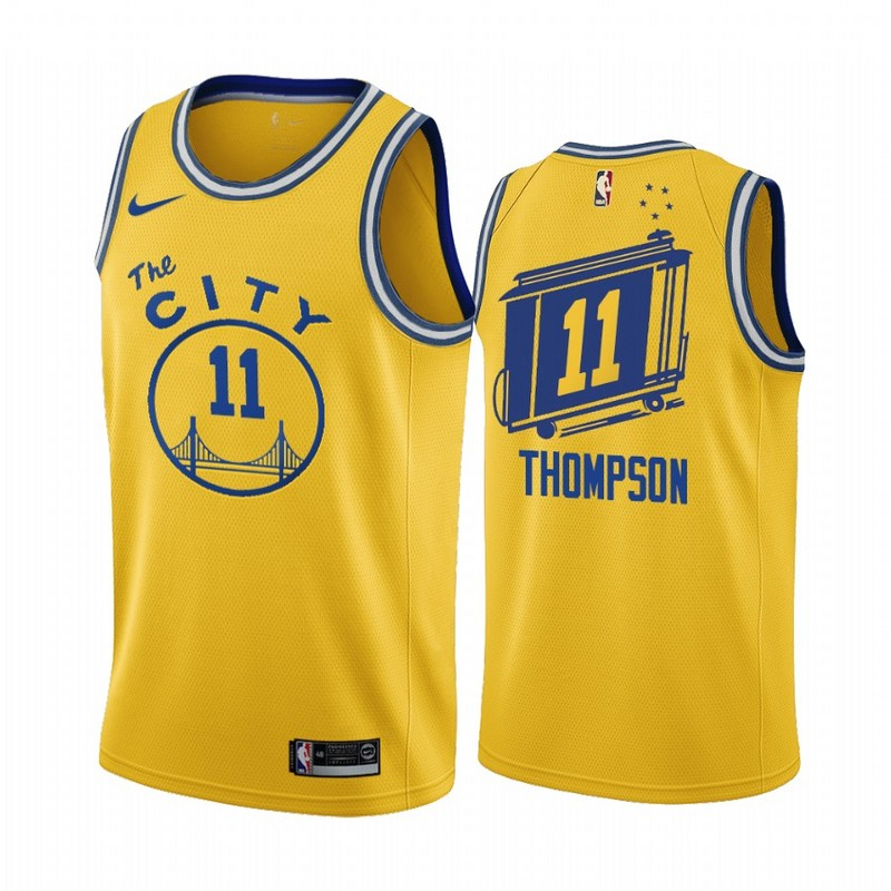 Men Golden State Warriors 11 Thompson yellow Game new Nike NBA Jerseys 2