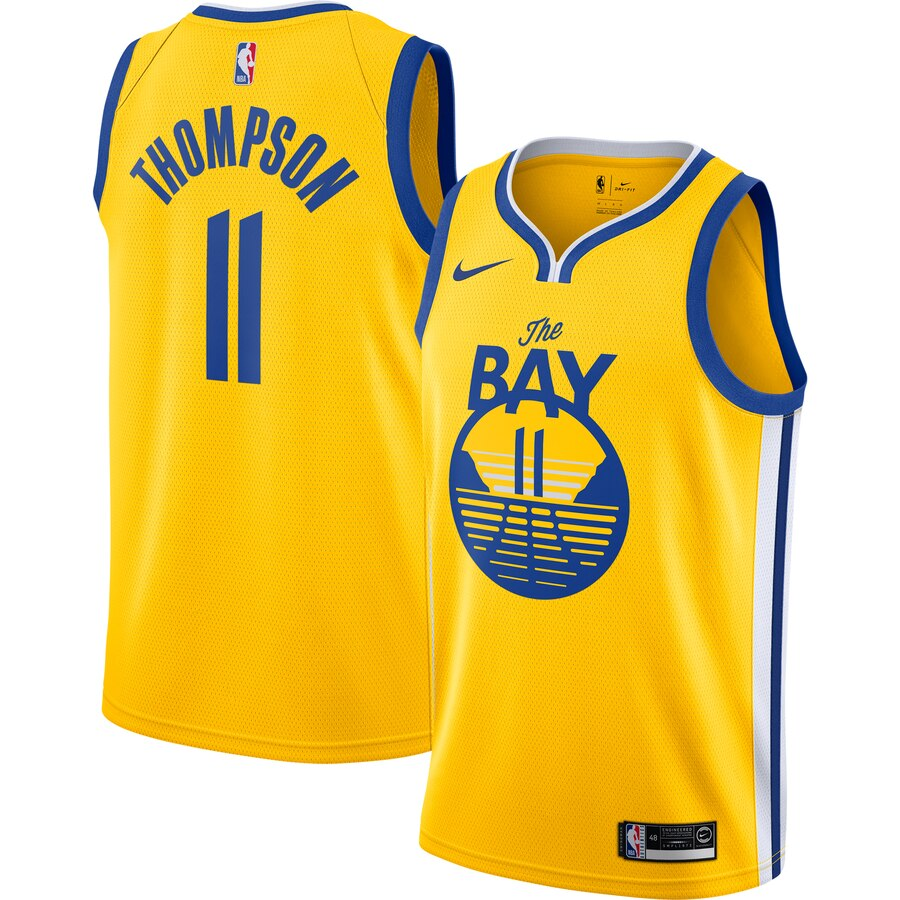 Men Golden State Warriors 11 Thompson yellow Game new Nike NBA Jerseys