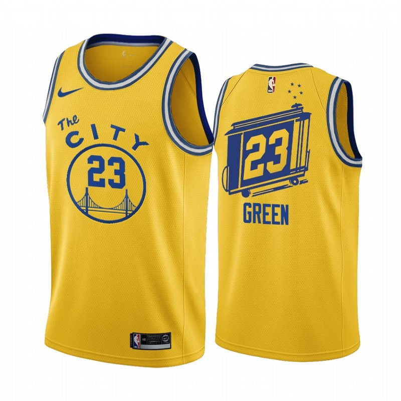 Men Golden State Warriors 23 Green yellow Game new Nike NBA Jerseys