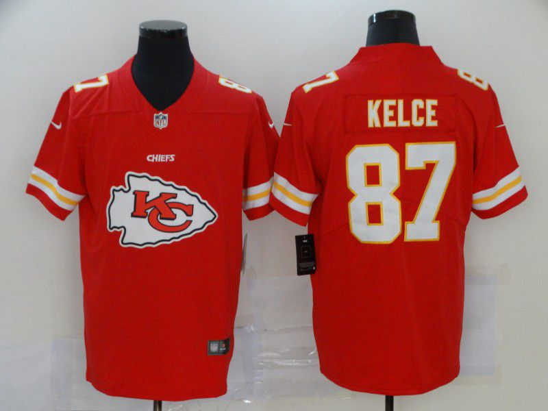Men Kansas City Chiefs 87 Kelce Red Nike Team logo fashion NFL Jersey