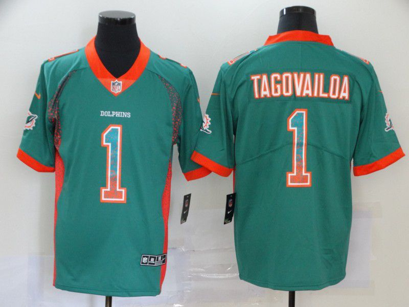 Men Miami Dolphins 1 Tagovailoa Green Nike Drift Fashion Color Rush Limited NFL Jersey