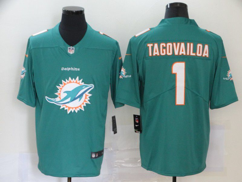Men Miami Dolphins 1 Tagovailoa Green Nike Team logo fashion NFL Jersey