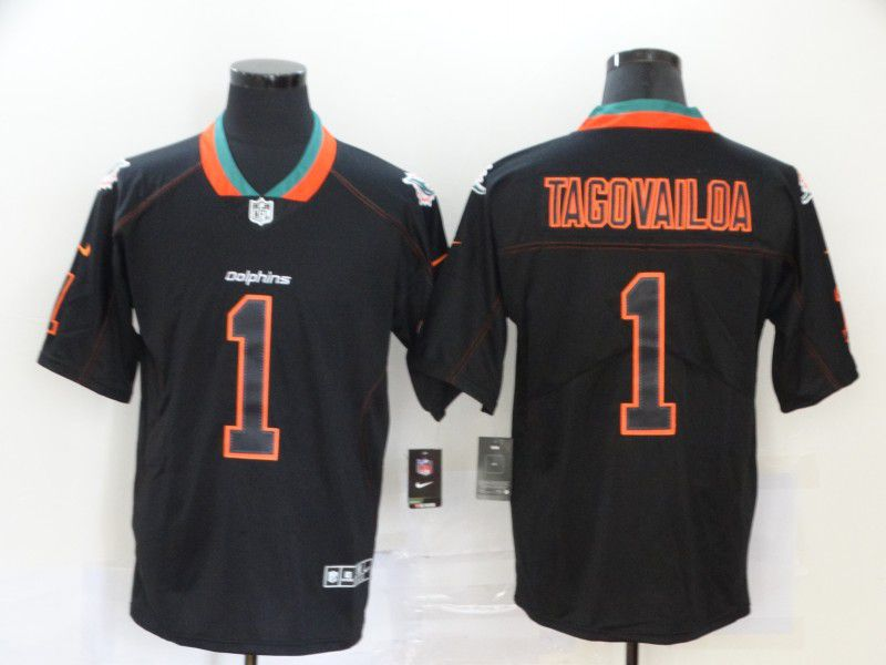 Men Miami Dolphins 1 Tagovailoa Nike Lights Out Black Color Rush Limited NFL Jersey