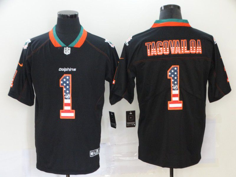 Men Miami Dolphins 1 Tagovailoa Nike USA Flag Fashion Black Color Rush Limited NFL Jersey