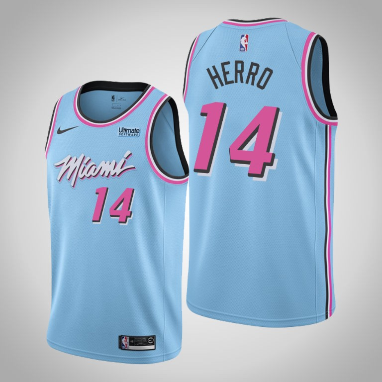Men Miami Heat 14 Herro light blue Nike Game NBA Jerseys