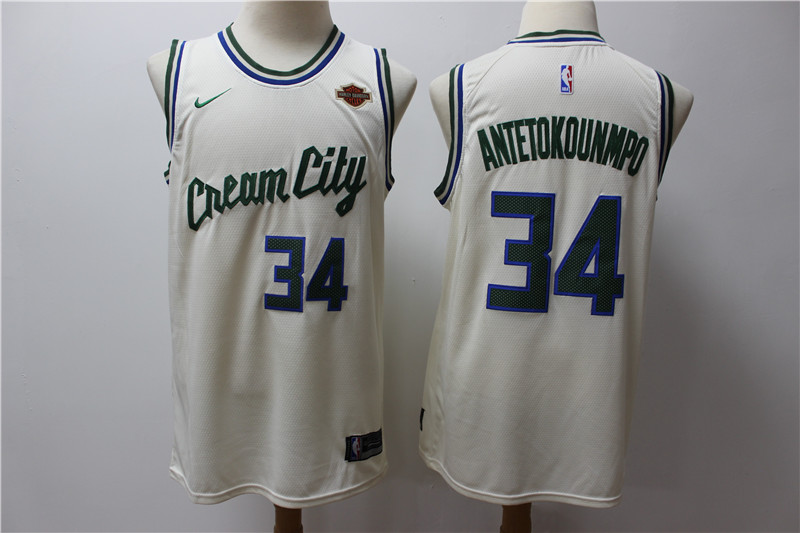 Men Milwaukee Bucks 34 Antetokounmp Gream Game Nike NBA city Edition Jerseys