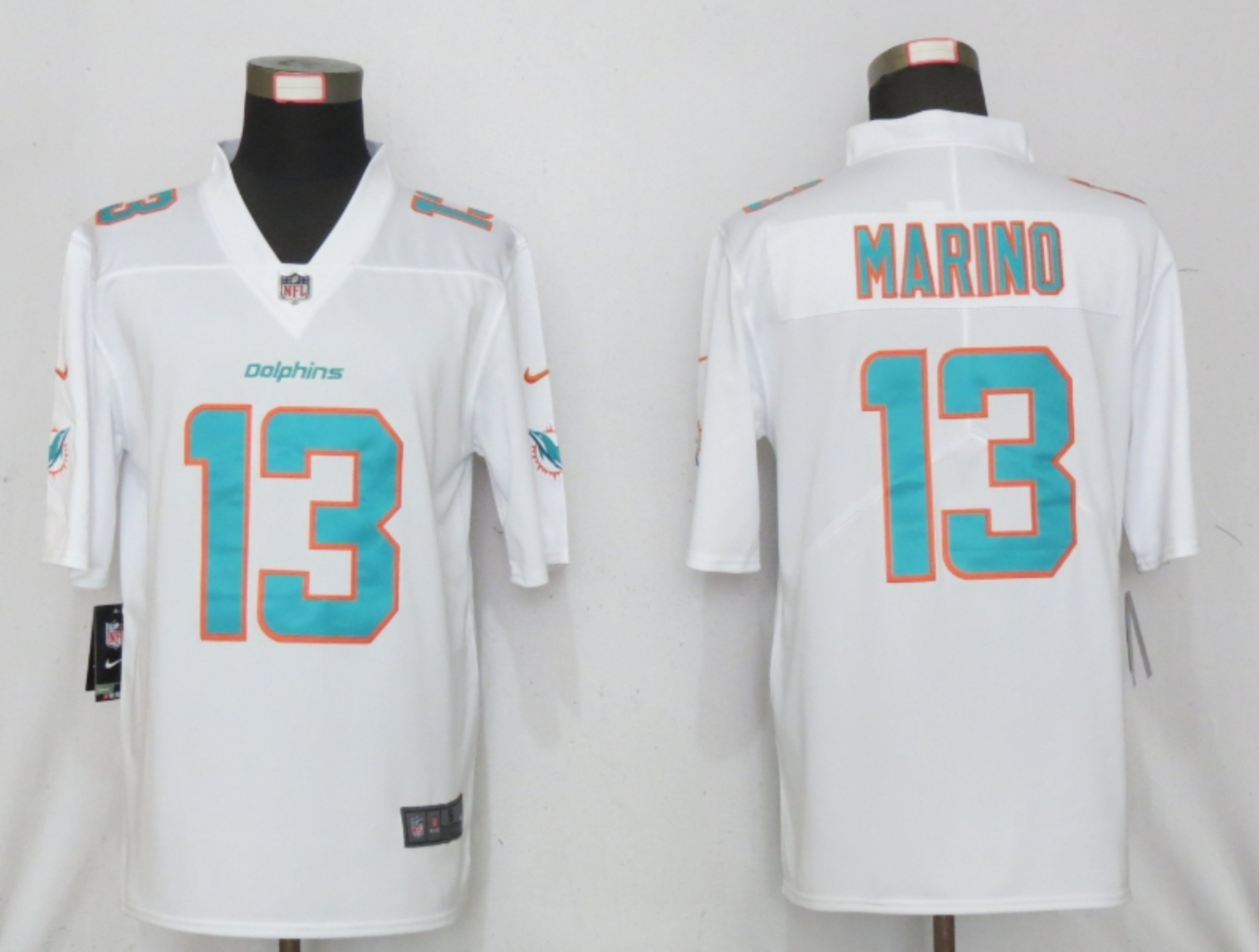 Men New Nike Miami Dolphins 13 Marino White 2020 Vapor Limited Jersey