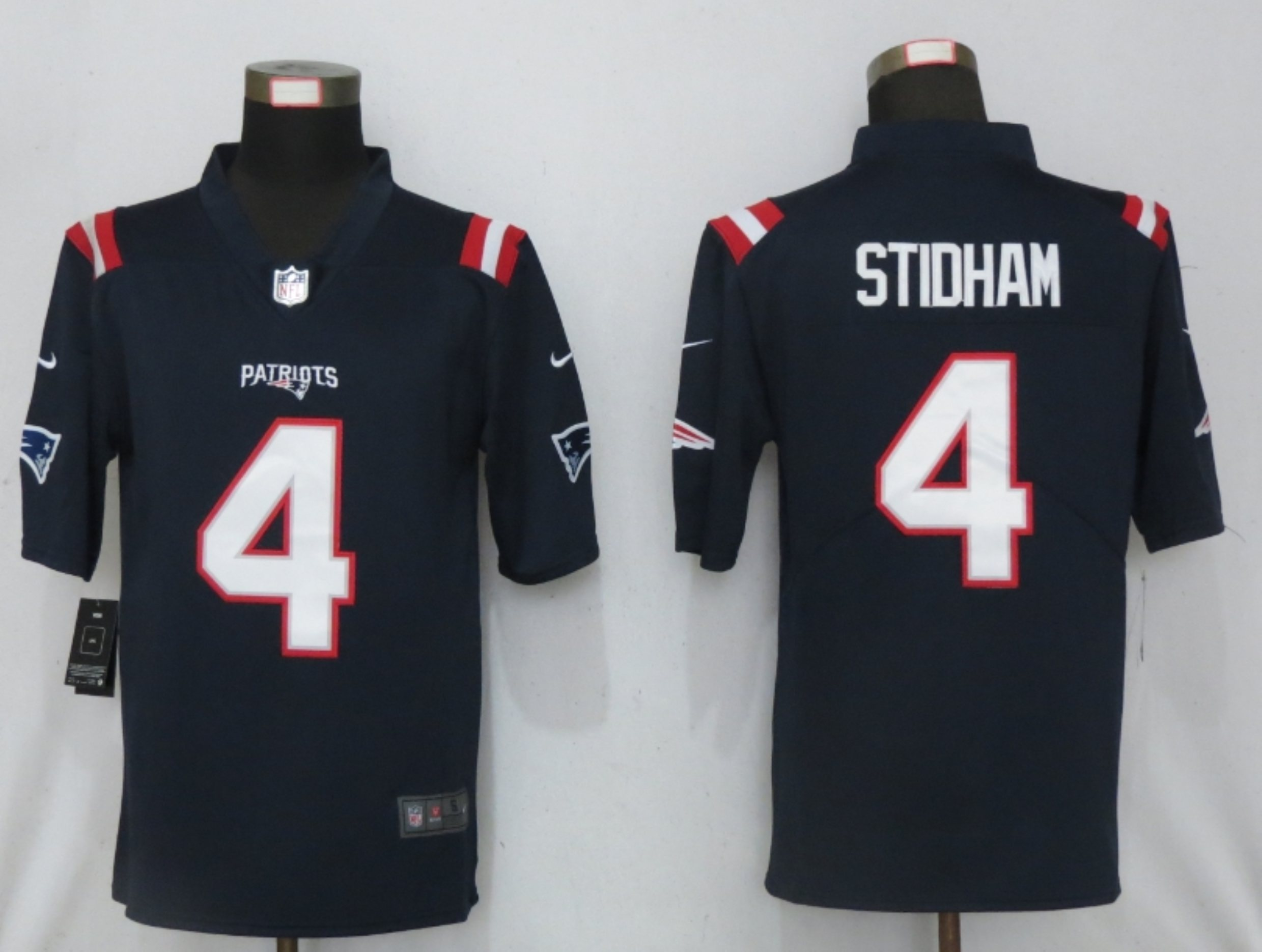 Men New Nike New England Patriots 4 Stidham Nike Blue Game Jersey