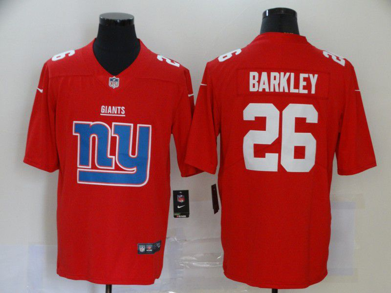 Men New York Giants 26 Barkley Red Nike Team logo fashion NFL Jersey