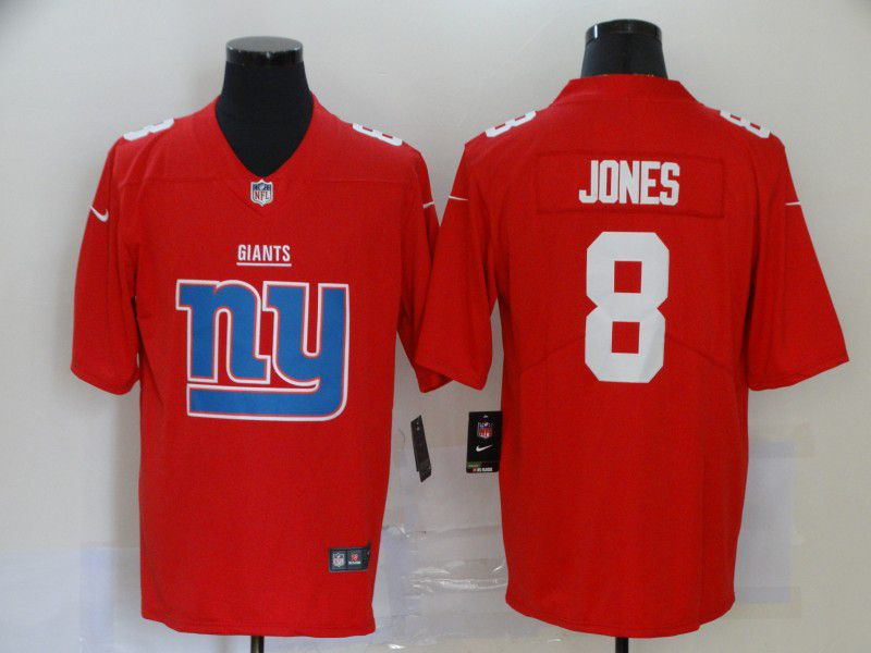 Men New York Giants 8 Jones Red Nike Team logo fashion NFL Jersey
