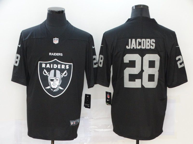 Men Oakland Raiders 28 Jacobs Black Nike Team logo fashion NFL Jersey