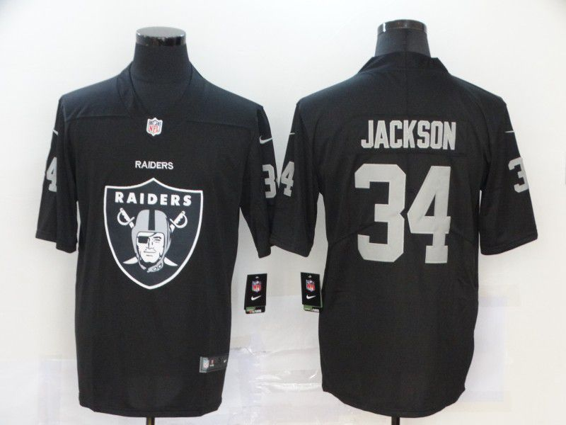 Men Oakland Raiders 34 Jackson Black Nike Team logo fashion NFL Jersey