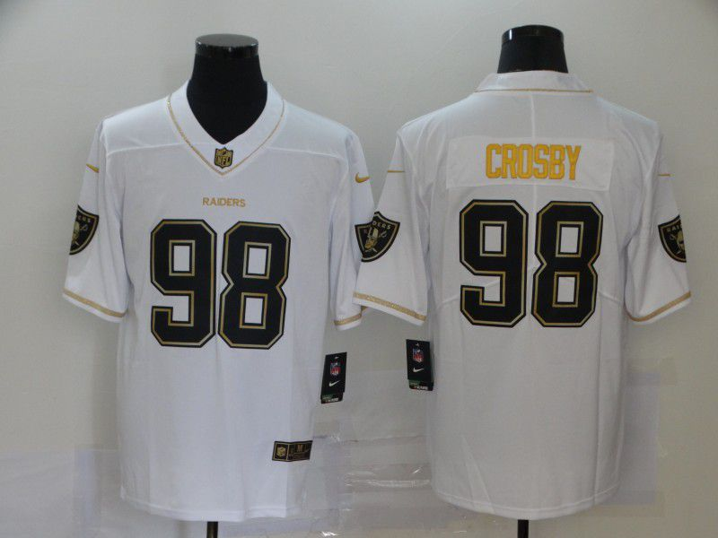 Men Oakland Raiders 99 Crosby White Retro gold lettering Nike NFL Jersey