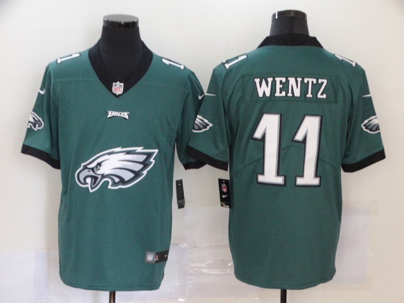 Men Philadelphia Eagles 11 Carson Wentz Green Vapor Untouchable Fashion Nike NFL Jersey 4