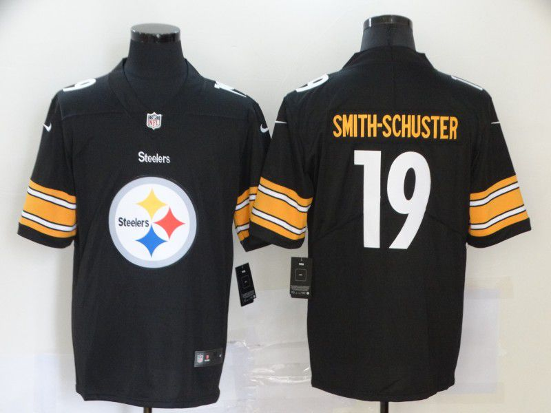 Men Pittsburgh Steelers 19 Smith-schuster Black Nike Team logo fashion NFL Jersey