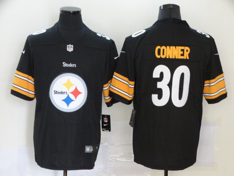 Men Pittsburgh Steelers 30 Conner Black Nike Team logo fashion NFL Jersey