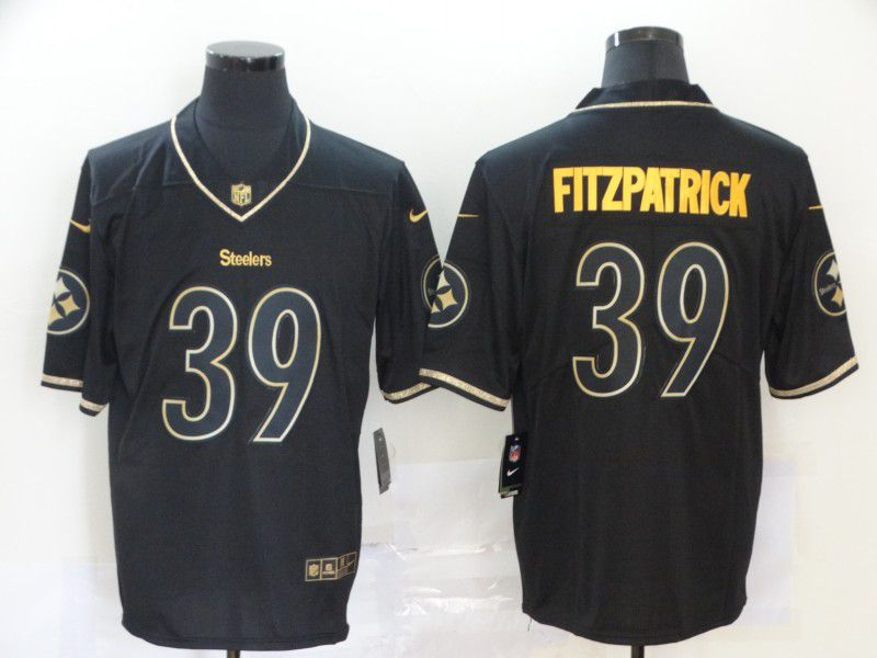 Men Pittsburgh Steelers 39 Fitzpatrick Black Retro gold lettering Nike NFL Jersey