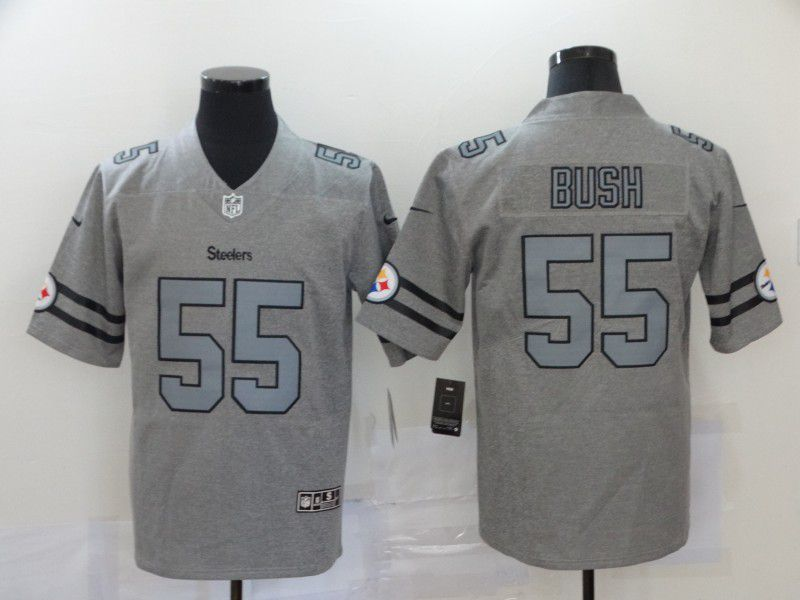 Men Pittsburgh Steelers 55 Bush Retro hemp grey Nike NFL Jersey