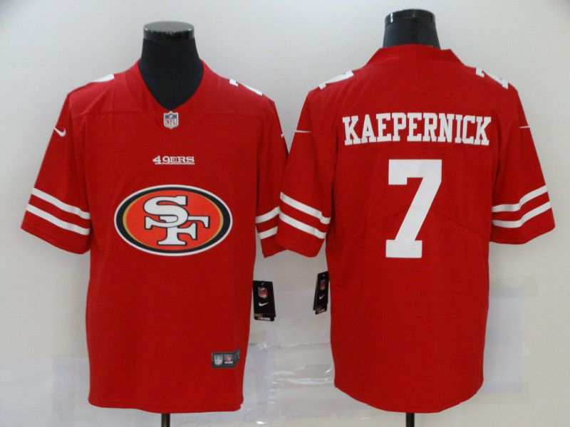 Men San Francisco 49ers 7 Kaepernick Red Nike Team logo fashion NFL Jersey