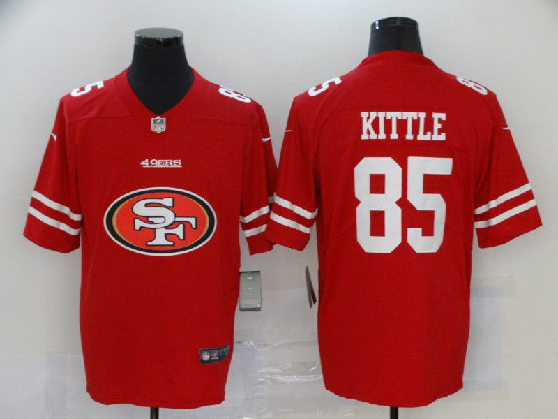 Men San Francisco 49ers 85 Kittle Red Nike Team logo fashion NFL Jersey