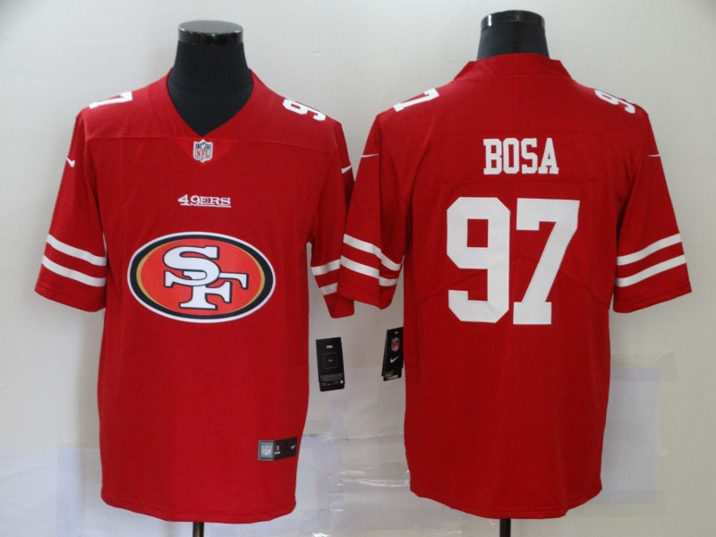 Men San Francisco 49ers 97 Bosa red logo Nike Vapor Untouchable Limited Player NFL Jerseys