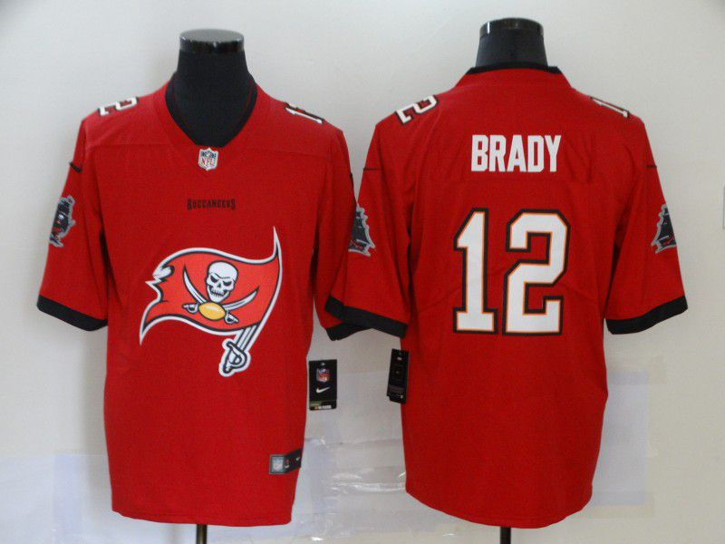 Men Tampa Bay Buccaneers 12 Brady Red Nike Team logo fashion NFL Jersey