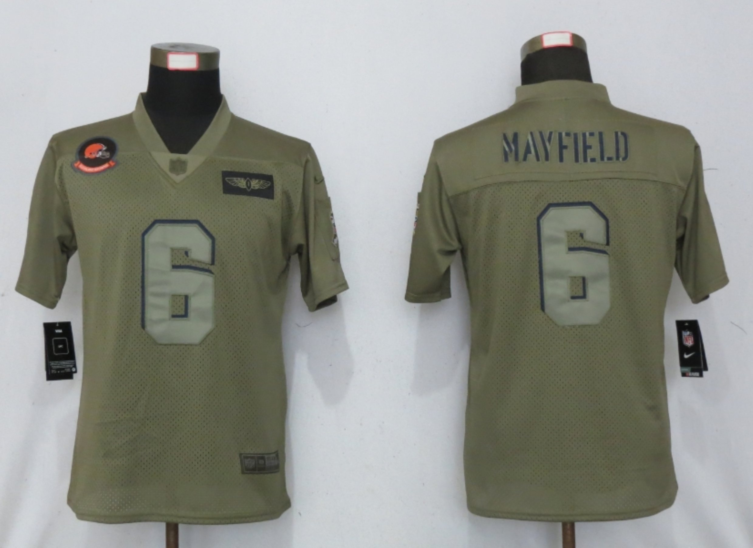 Women New Nike Cleveland Browns 6 Mayfield Nike Camo 2019 Salute to Service limited jersey