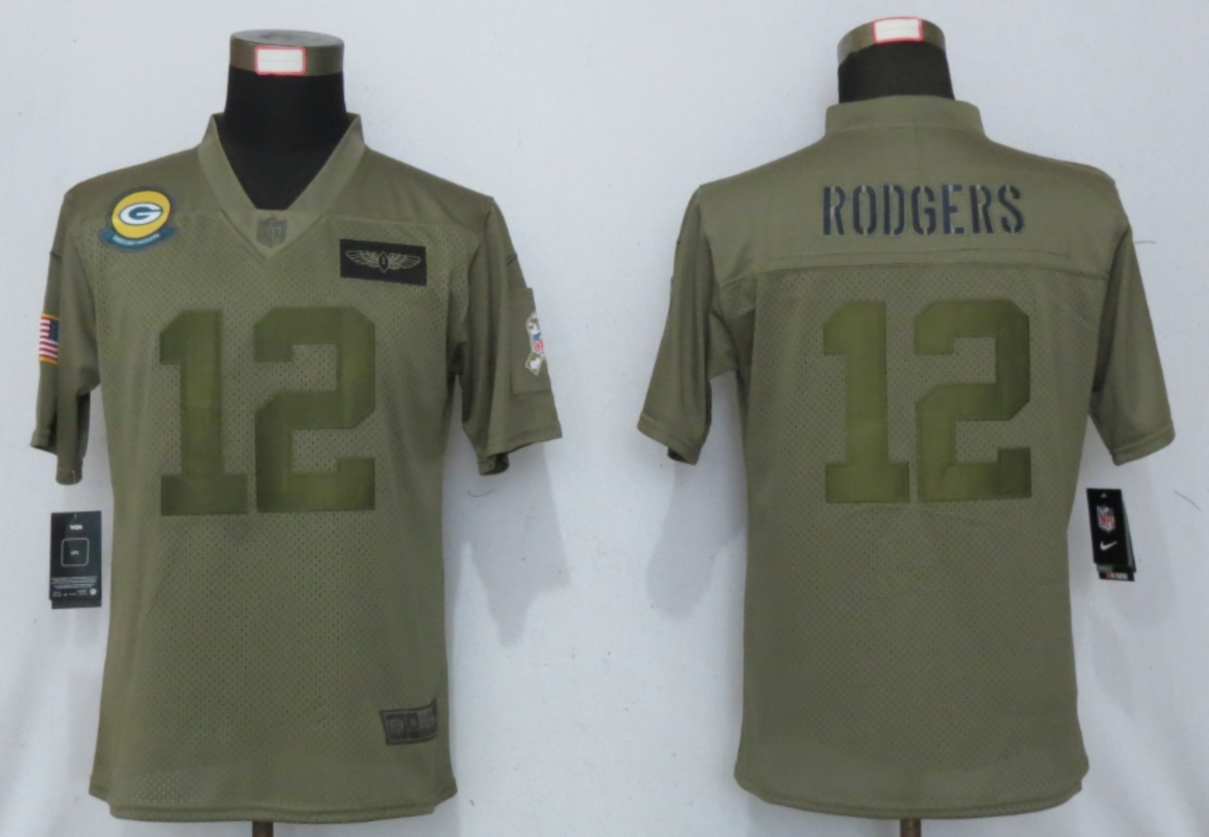 Women New Nike Green Bay Packers 12 Rodgers Nike Camo 2019 Salute to Service limited jersey