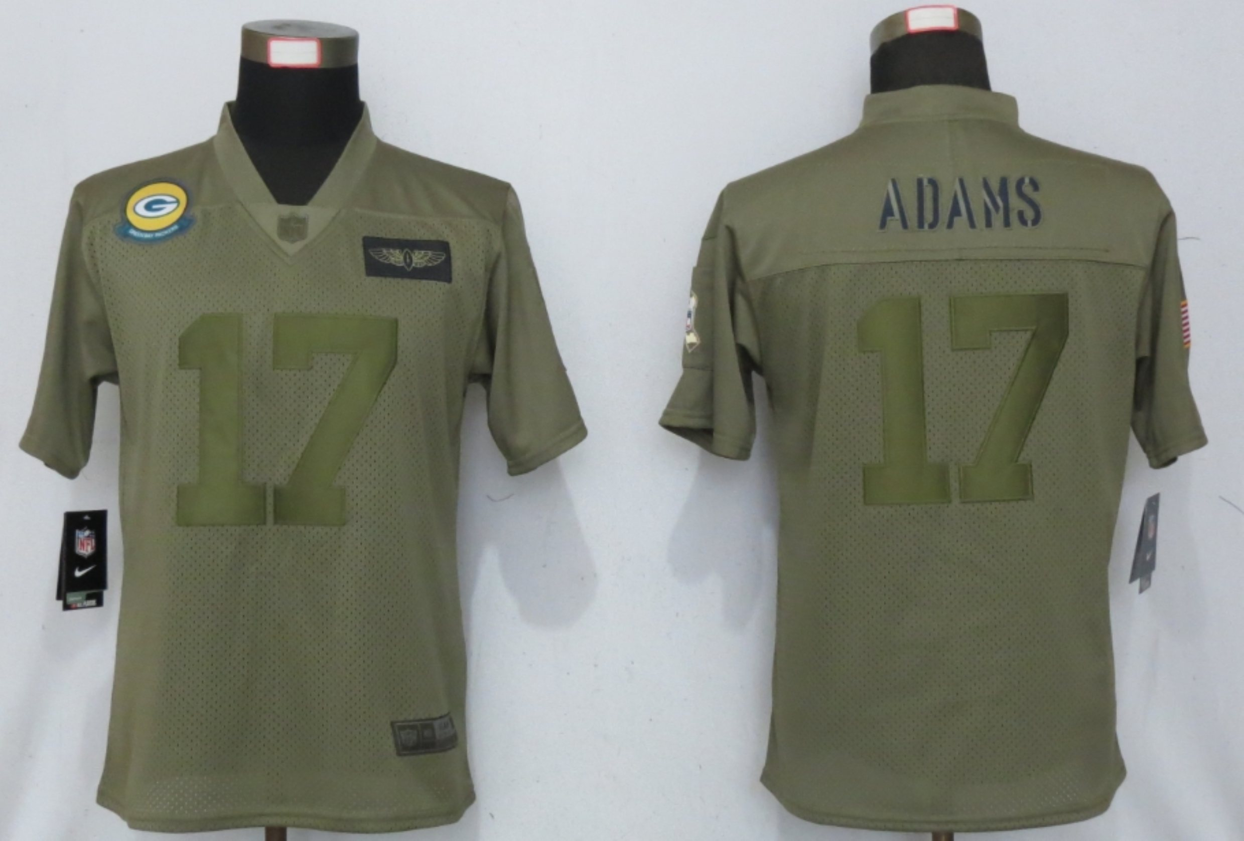 Women New Nike Green Bay Packers 17 Adams Nike Camo 2019 Salute to Service limited jersey