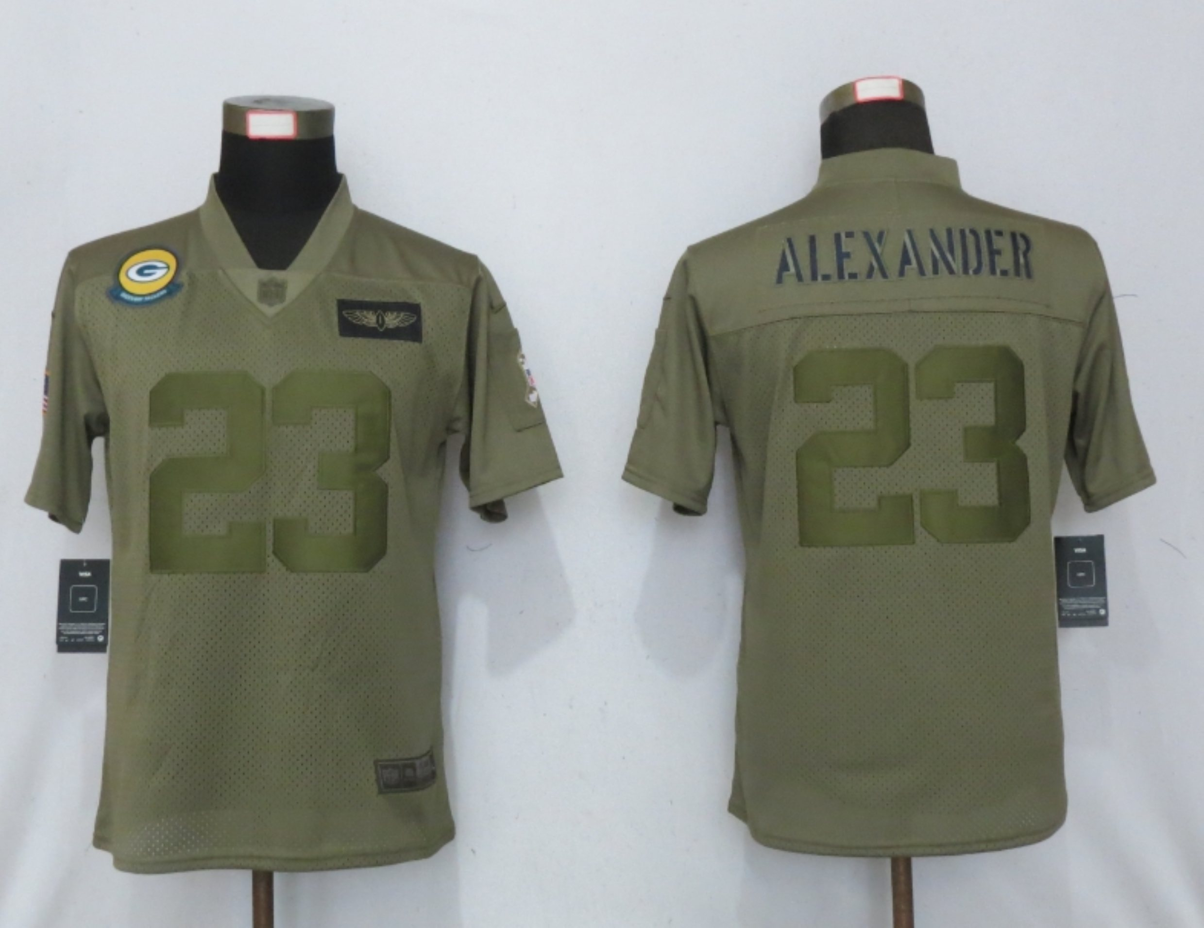 Women New Nike Green Bay Packers 23 Alexander Nike Camo 2019 Salute to Service limited jersey
