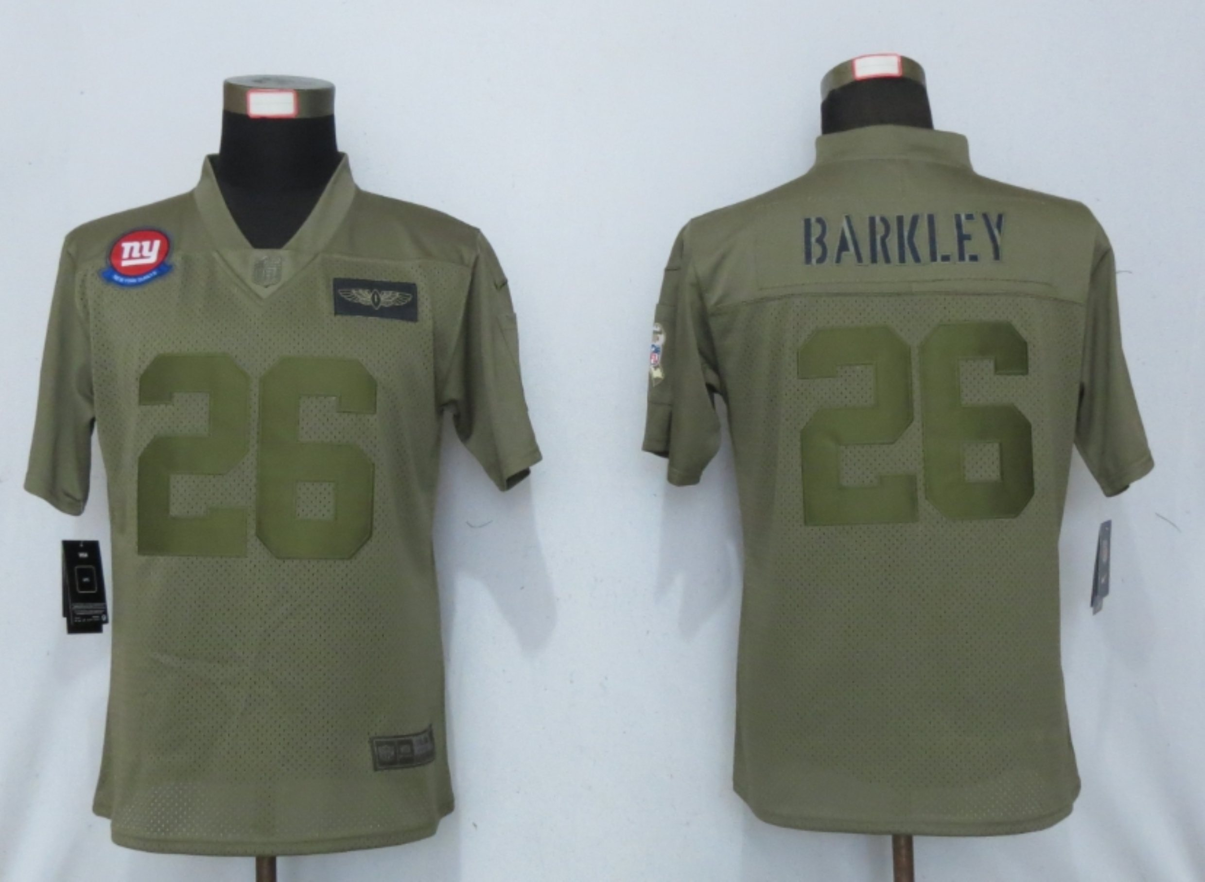 Women New Nike New York Giants 26 Barkley Nike Camo 2019 Salute to Service limited jersey
