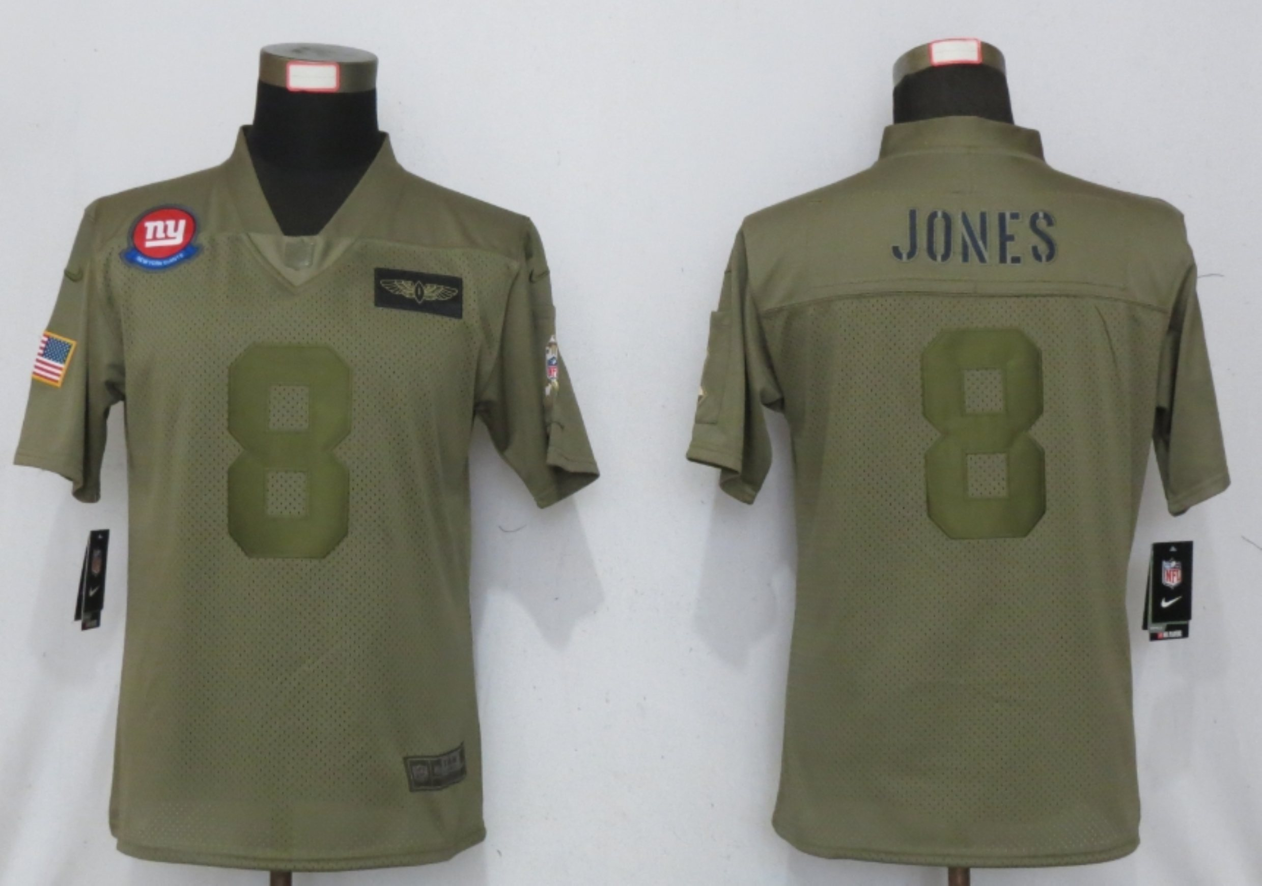 Women New Nike New York Giants 8 Jones Nike Camo 2019 Salute to Service limited jersey