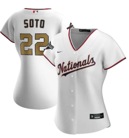 Women Washington Nationals 22 Juan Soto Nike White 2020 Jersey