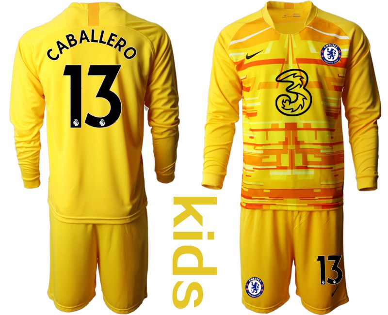 Youth 2020-2021 club Chelsea yellow goalkeeper long sleeve 13 Soccer Jerseys