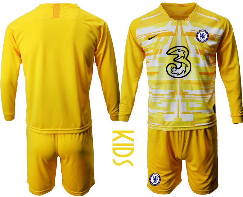 Youth 2020-2021 club Chelsea yellow goalkeeper long sleeve Soccer Jerseys