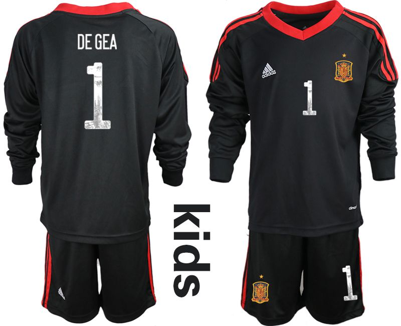 Youth 2021 World Cup National Spain black long sleeve goalkeeper 1 Soccer Jerseys2