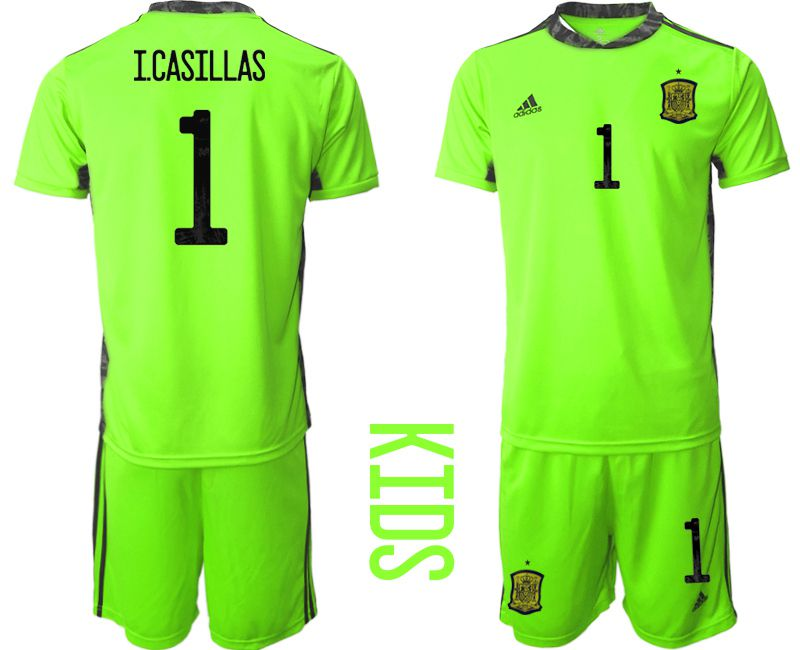 Youth 2021 World Cup National Spain fluorescent green goalkeeper 1 Soccer Jerseys1