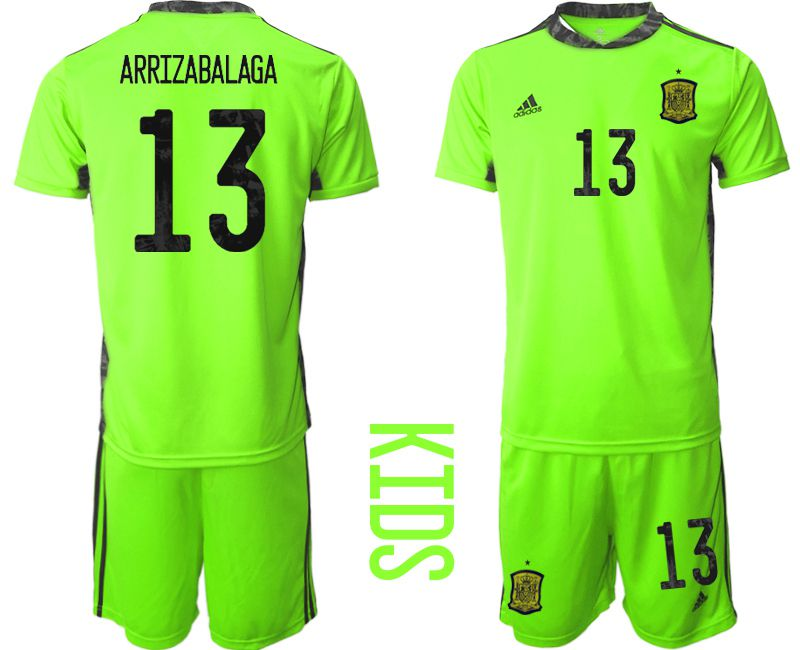 Youth 2021 World Cup National Spain fluorescent green goalkeeper 13 Soccer Jerseys