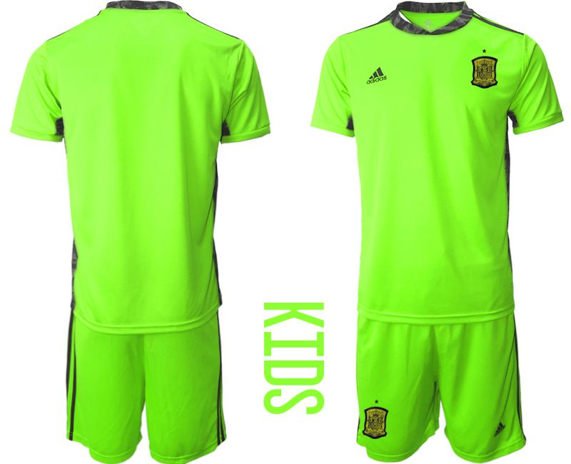 Youth 2021 World Cup National Spain fluorescent green goalkeeper Soccer Jerseys