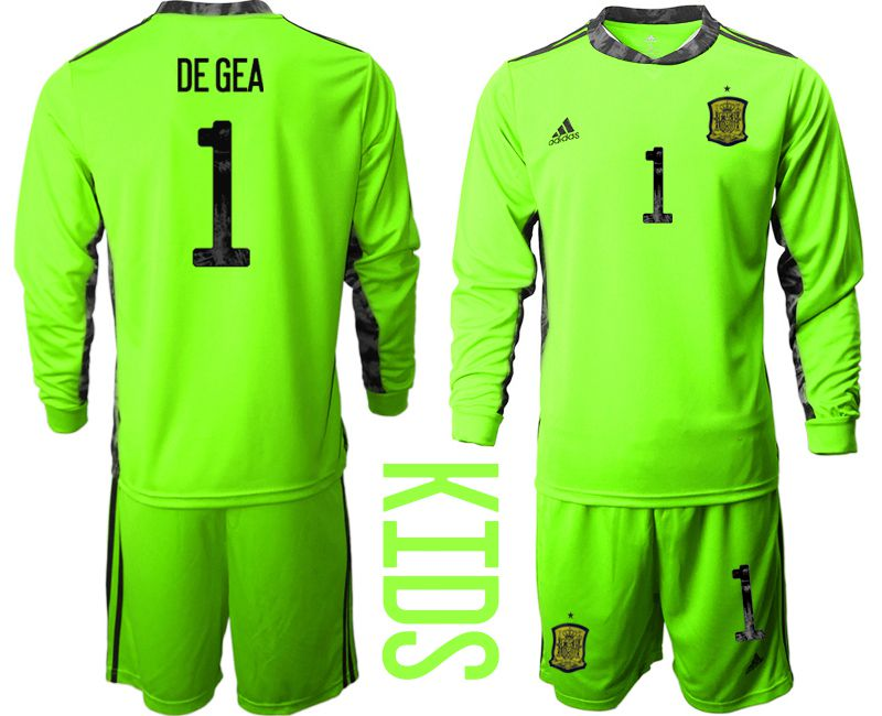 Youth 2021 World Cup National Spain fluorescent green goalkeeper long sleeve 1 Soccer Jerseys1
