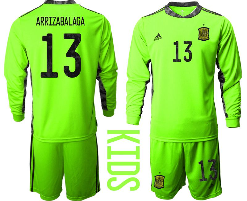 Youth 2021 World Cup National Spain fluorescent green goalkeeper long sleeve 13 Soccer Jerseys