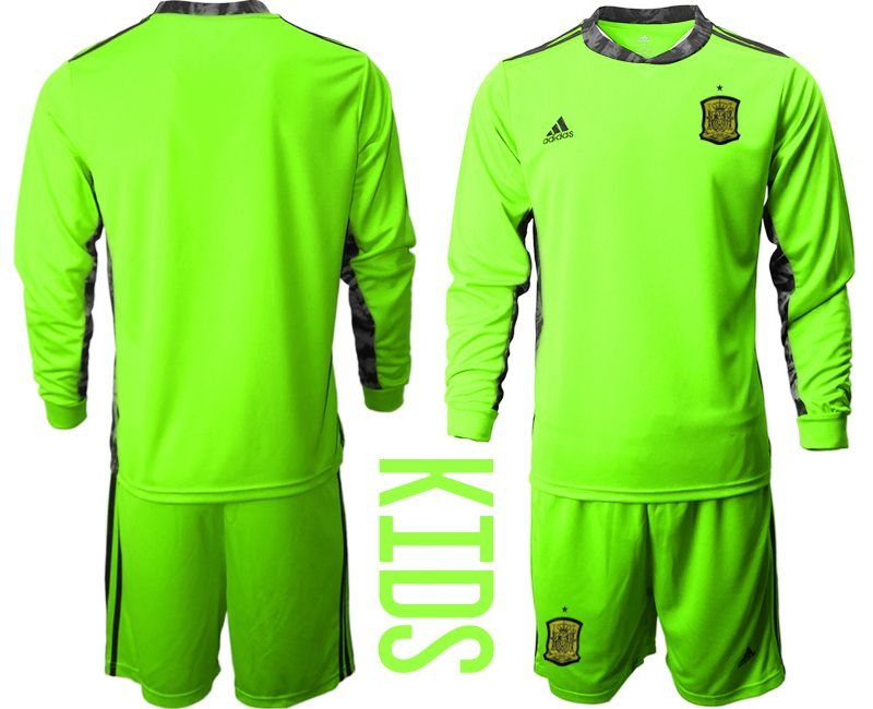 Youth 2021 World Cup National Spain fluorescent green goalkeeper long sleeve Soccer Jerseys