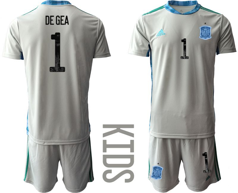Youth 2021 World Cup National Spain gray goalkeeper 1 Soccer Jerseys