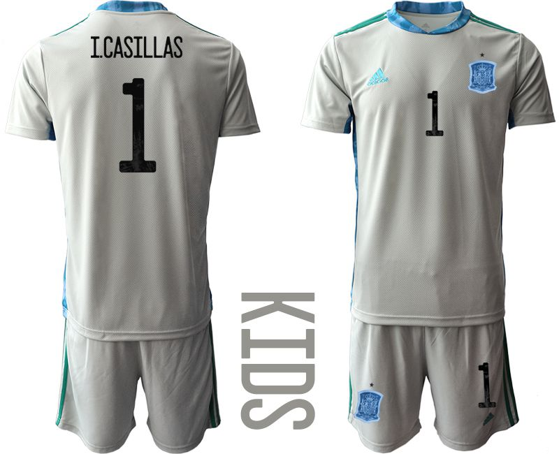 Youth 2021 World Cup National Spain gray goalkeeper 1 Soccer Jerseys1