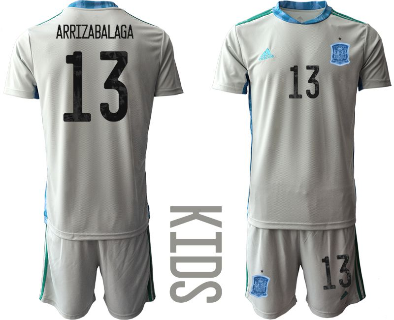Youth 2021 World Cup National Spain gray goalkeeper 13 Soccer Jerseys