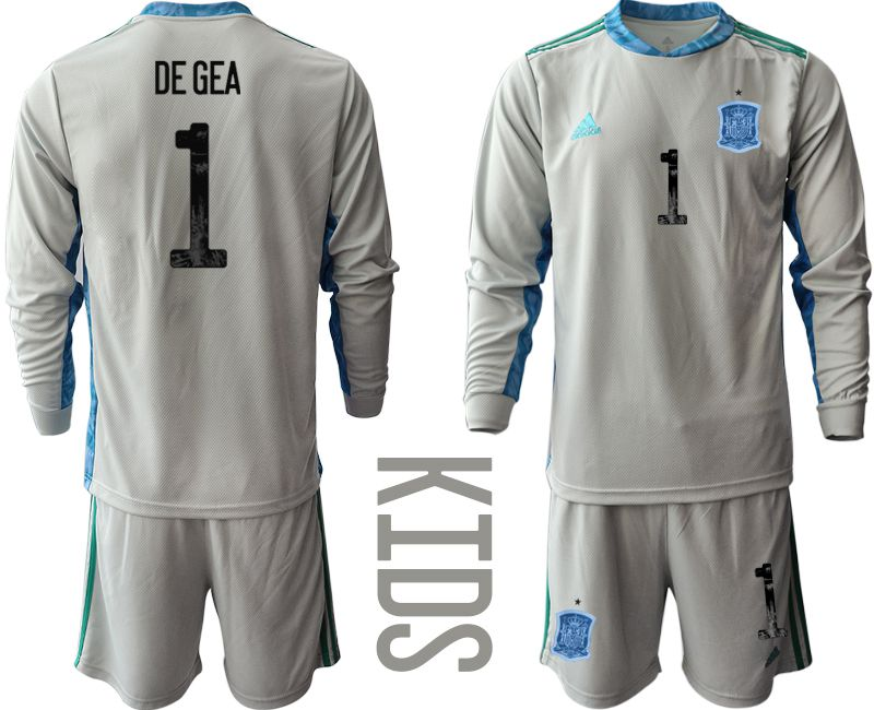 Youth 2021 World Cup National Spain gray long sleeve goalkeeper 1 Soccer Jerseys