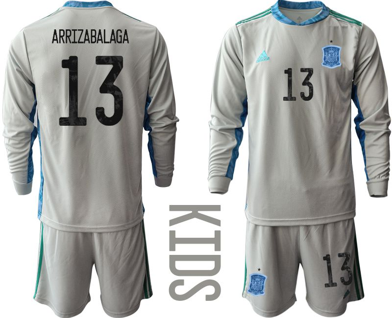 Youth 2021 World Cup National Spain gray long sleeve goalkeeper 13 Soccer Jerseys