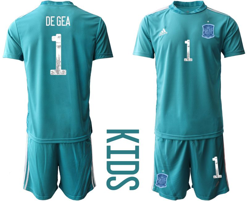 Youth 2021 World Cup National Spain lake blue goalkeeper 1 Soccer Jerseys